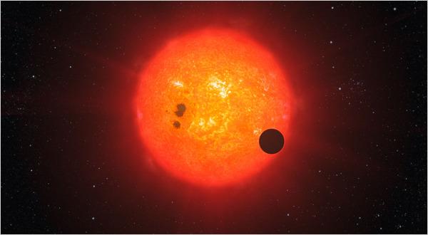 GJ 1214b orbiting its red dwarf star.
